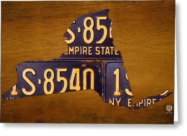 Road Trip Greeting Cards - New York State License Plate Map - Empire State Orange Edition Greeting Card by Design Turnpike