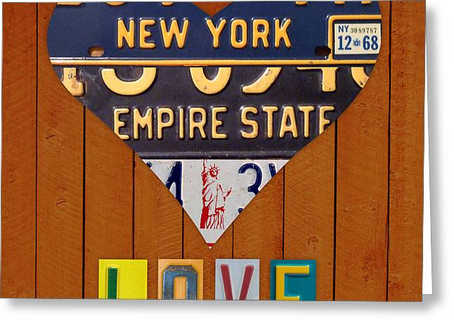 White River Mixed Media Greeting Cards - New York State Love Heart License Plate Art Series on Wood Boards Greeting Card by Design Turnpike