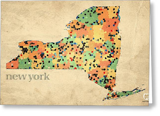 New York State Greeting Cards - New York State Map Crystalized Counties on Worn Canvas by Design Turnpike Greeting Card by Design Turnpike