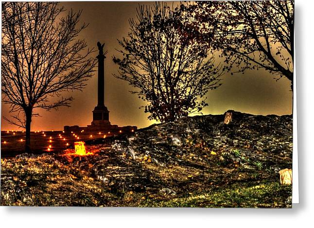 Maryland Campaign Greeting Cards - New York State Monument-B1 Antietam National Battlefield Memorial Illumination Greeting Card by Michael Mazaika