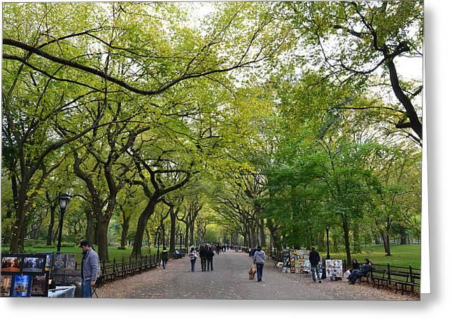 Dog Walking Greeting Cards - New York State of Mind Greeting Card by Liran Eisenberg