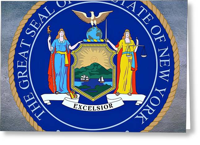 York Beach Greeting Cards - New York State Seal Greeting Card by Movie Poster Prints