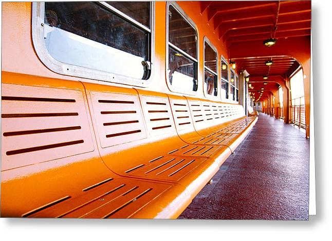 Montreal Icon Greeting Cards - New York Staten Island Ferry Greeting Card by Simon Laroche