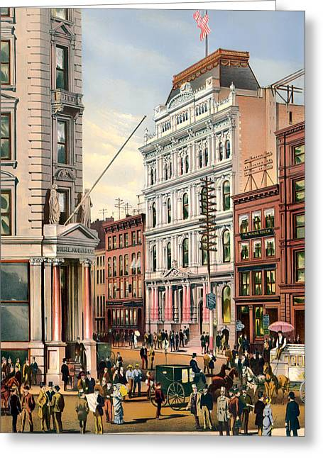 Horse Buggy Greeting Cards - New York Stock Exchange 1882 Greeting Card by Mountain Dreams