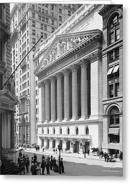 Neo Greeting Cards - New York Stock Exchange, N.y., C.1904 Bw Photo Greeting Card by Detroit Publishing Co.
