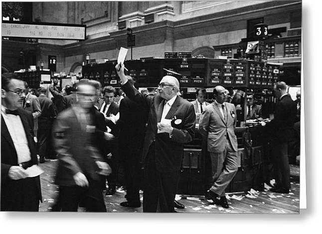 Stockbroker Greeting Cards - New York Stock Exchange trading, 1960s Greeting Card by Science Photo Library