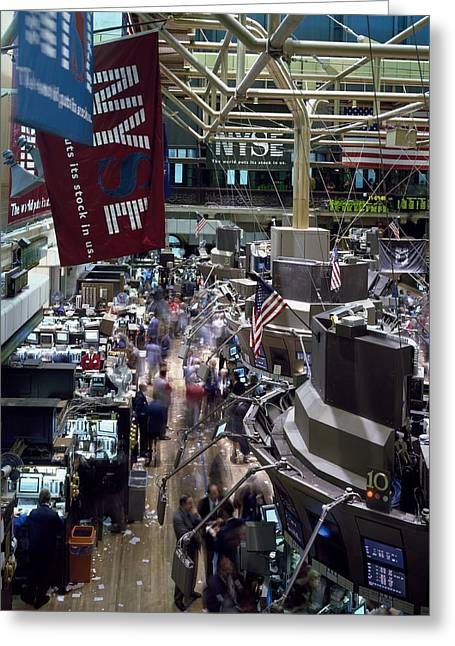 New York Stock Exchange Trading, 1980s Greeting Card by Science Photo Library