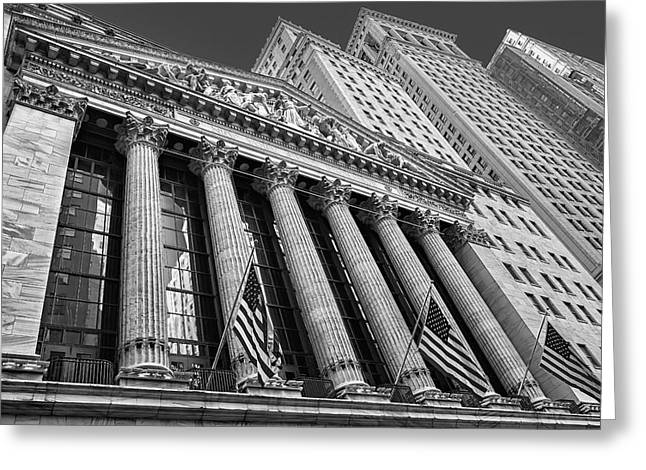 Wall Street Greeting Cards - New York Stock Exchange Wall Street NYSE BW Greeting Card by Susan Candelario