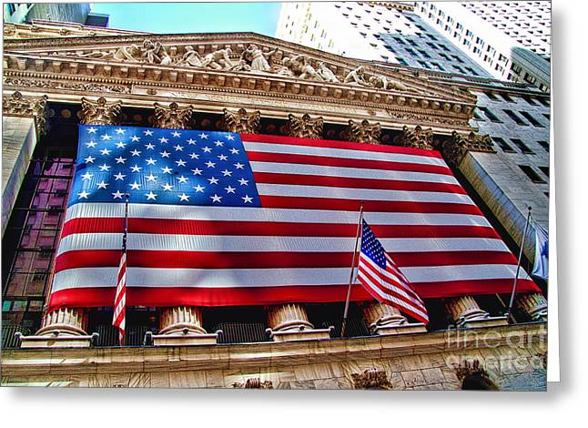 Broker Greeting Cards - New York Stock Exchange with US Flag Greeting Card by David Smith
