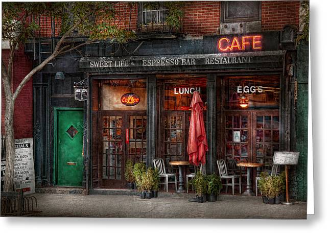 Gift For A Greeting Cards - New York - Store - Greenwich Village - Sweet Life Cafe Greeting Card by Mike Savad