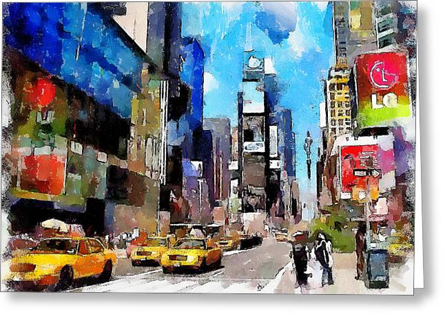 Live Art Greeting Cards - New York Street 3 Greeting Card by Yury Malkov