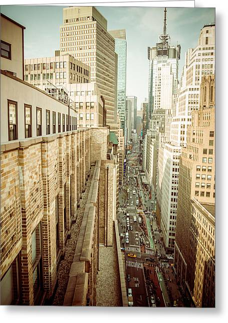 Times Square Pyrography Greeting Cards - New York Street Greeting Card by Hemantha Fernando