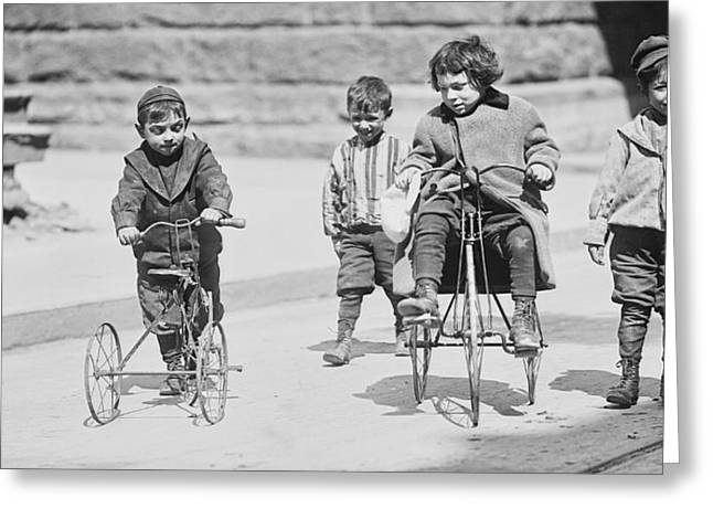 Skid Row Greeting Cards - New York Street Kids - 1909 Greeting Card by Daniel Hagerman