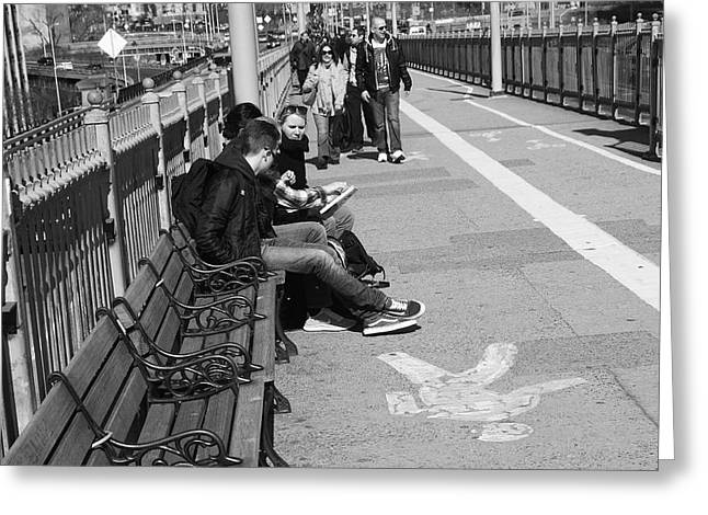Downtown Books Greeting Cards - New York Street Photography 15 Greeting Card by Frank Romeo