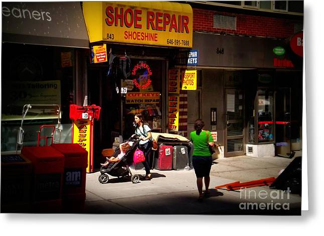 At Work Greeting Cards - New York Street Scene - Mother and Child - Color Greeting Card by Miriam Danar