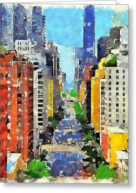 Live Art Greeting Cards - New York Street View Greeting Card by Yury Malkov
