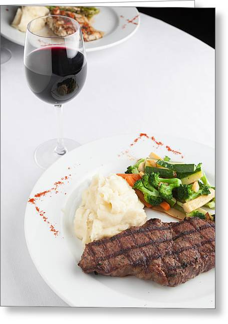 Malbec Photographs Greeting Cards - New York Strip Steak with Mashed Potatoes and Mixed Vegetables Greeting Card by Erin Cadigan