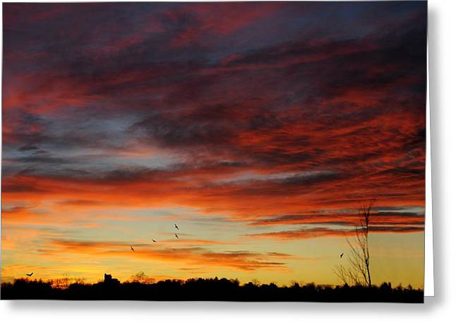 Spectacular Greeting Cards - New York Sunset Greeting Card by Diana Angstadt