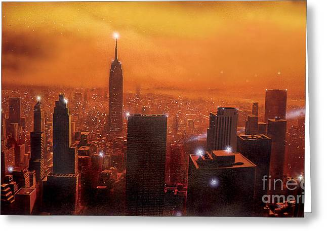 Crisp Greeting Cards - New York Sunset Greeting Card by Steve Crisp