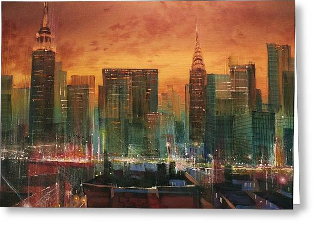 Skyline Paintings Greeting Cards - New York the Emerald City Greeting Card by Tom Shropshire
