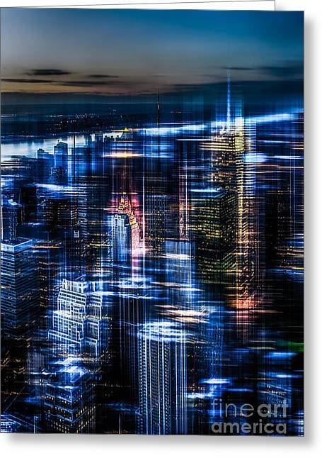 Softengineer Greeting Cards - New York - the night awakes - blue I Greeting Card by Hannes Cmarits