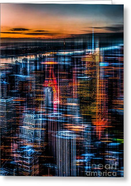 Softengineer Greeting Cards - New York- the night awakes - orange Greeting Card by Hannes Cmarits