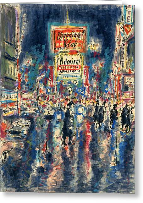 Urban Images Drawings Greeting Cards - New York Times Square - Watercolor Painting Greeting Card by Peter Fine Art Gallery  - Paintings Photos Digital Art