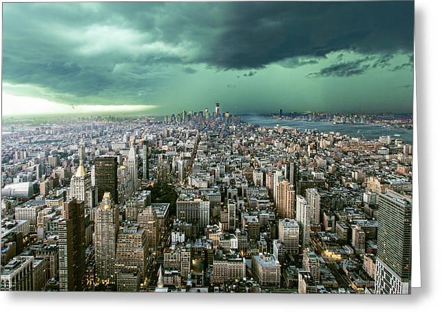 New-york Under Storm Greeting Card by Pagniez