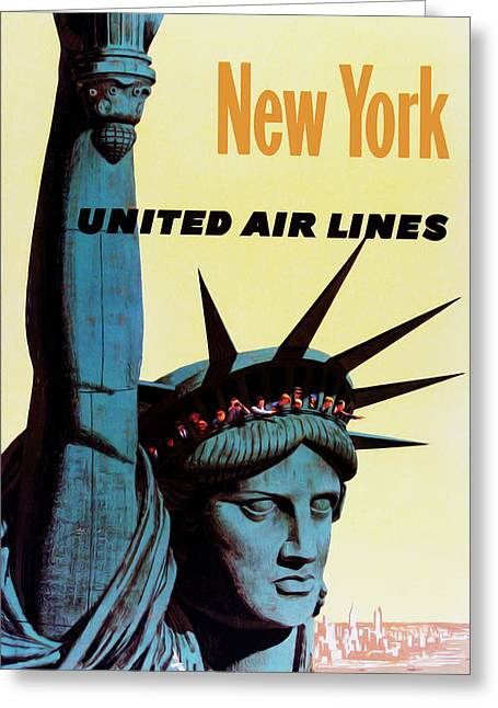 New Greeting Cards - New York United Airlines Greeting Card by Mark Rogan