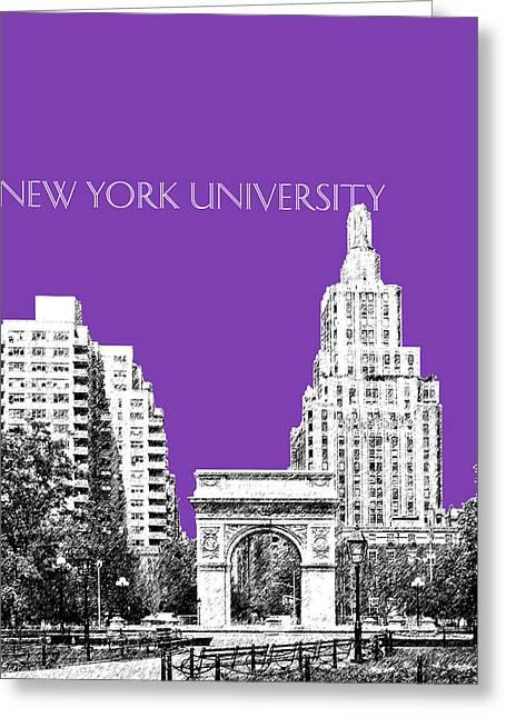 Washington Square Park Greeting Cards - New York University - Washington Square Park - Purple Greeting Card by DB Artist