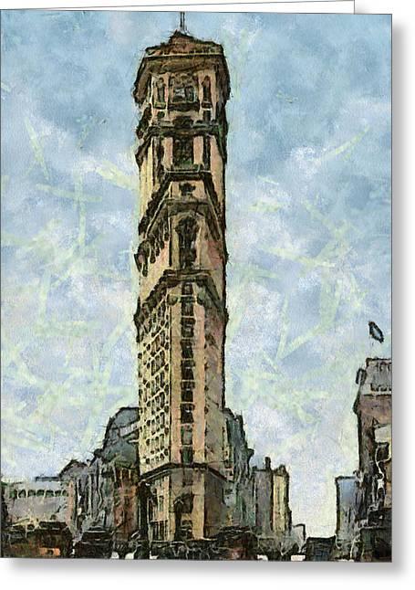New York Vintage Landmarks Greeting Card by Georgi Dimitrov