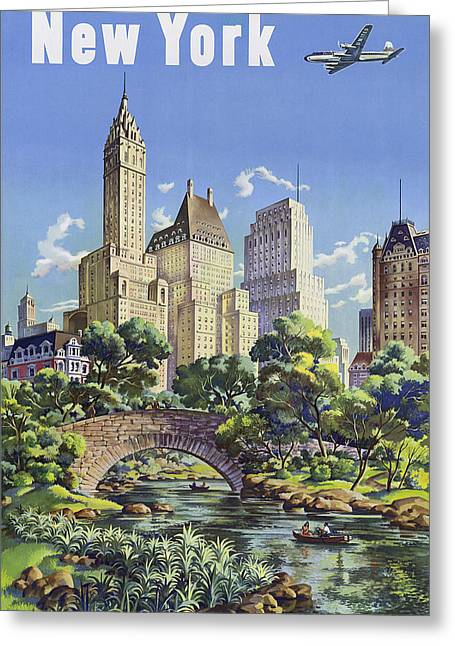 Manhaten Greeting Cards - New York Vintage Travel Post Greeting Card by Jamey Scally