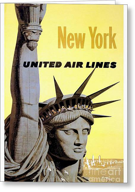 United Airline Greeting Cards - New York Vintage  Travel Poster Greeting Card by Jon Neidert