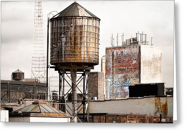 Industrial Icon Photographs Greeting Cards - New York water tower 16 Greeting Card by Gary Heller