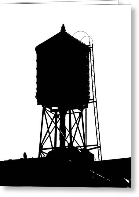 Industrial Icon Photographs Greeting Cards - New York water tower 17 - Silhouette - Urban icon Greeting Card by Gary Heller