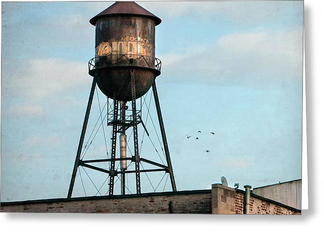 Industrial Icon Photographs Greeting Cards - New York water tower 7 Greeting Card by Gary Heller