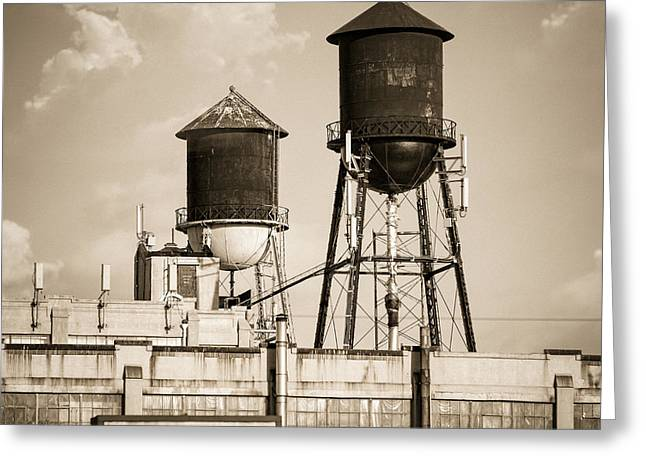 Historic Tank Greeting Cards - New York water tower 8 - Williamsburg Brooklyn Greeting Card by Gary Heller