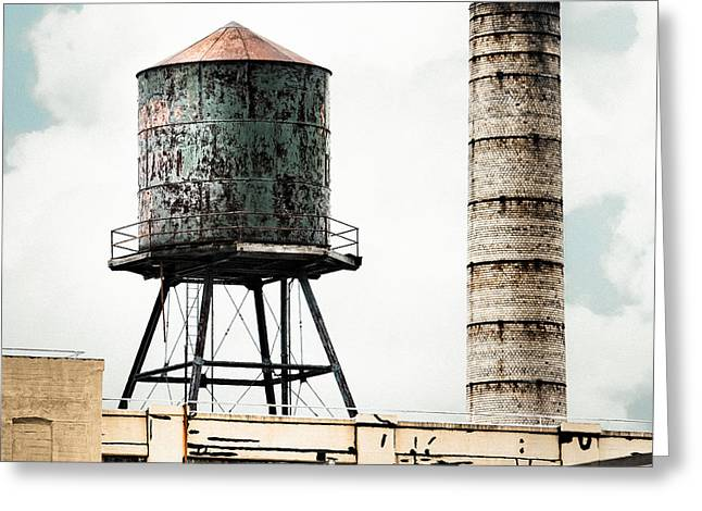 Smokestack Greeting Cards - Water Tower and SmokeStack in Brooklyn New York - New York Water Tower 12 Greeting Card by Gary Heller
