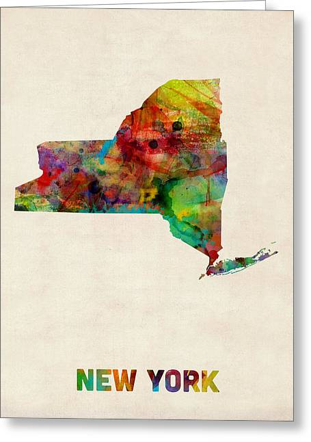 East Coast Greeting Cards - New York Watercolor Map Greeting Card by Michael Tompsett