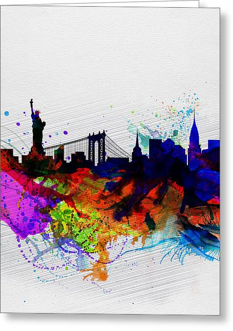 New World Greeting Cards - New York  Watercolor Skyline 1 Greeting Card by Naxart Studio