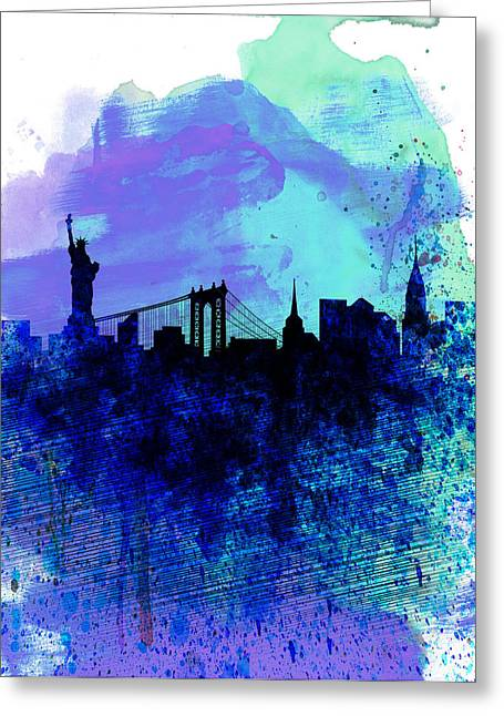 United States Capital Greeting Cards - New York  Watercolor Skyline 2 Greeting Card by Naxart Studio