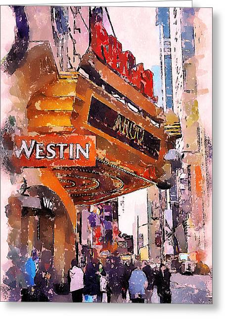 Live Art Greeting Cards - New York Westin Greeting Card by Yury Malkov