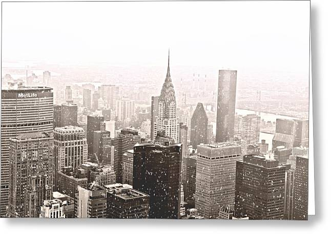 New York Winter - Skyline In The Snow Greeting Card by Vivienne Gucwa