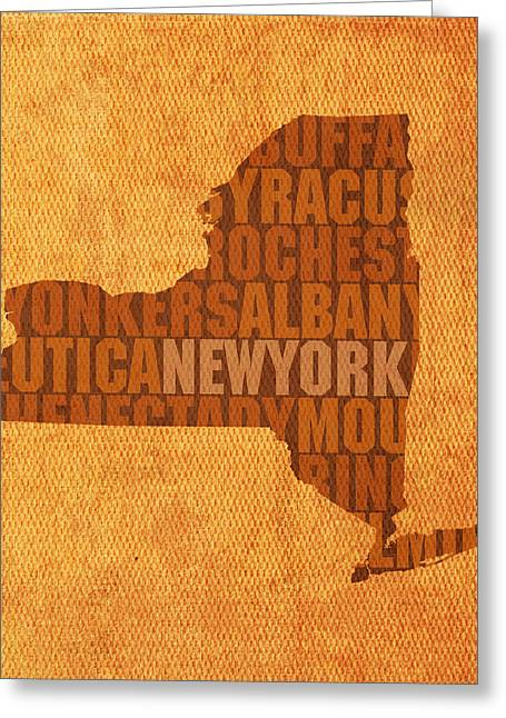 Cities Art Greeting Cards - New York Word Art State Map on Canvas Greeting Card by Design Turnpike