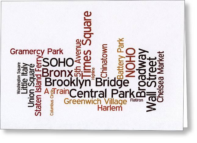 New York Wordcloud Greeting Card by David Bearden
