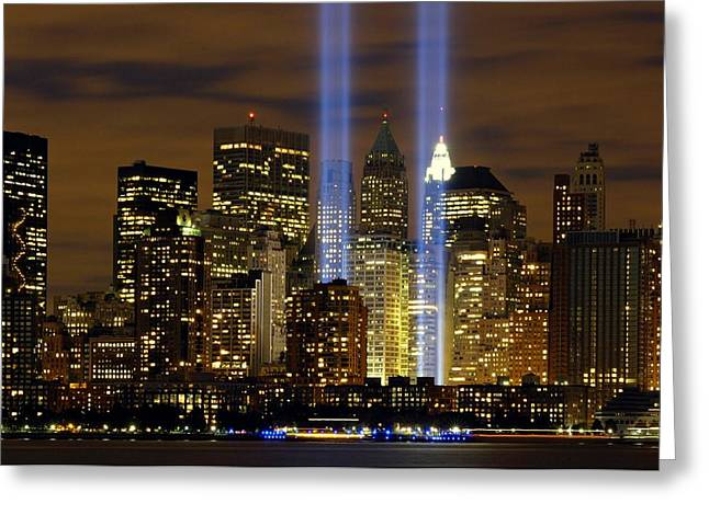 Citizens Greeting Cards - New York World Trade Center Tribute In Light Greeting Card by Movie Poster Prints