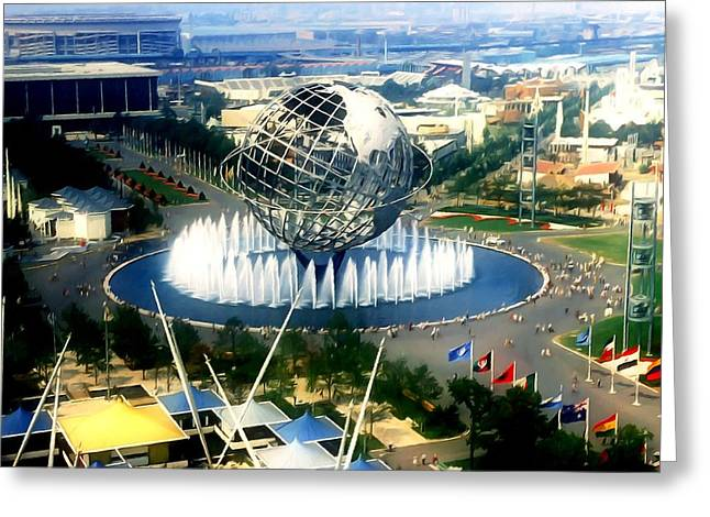 United States Steel Paintings Greeting Cards - New York Worlds Fair Greeting Card by Lanjee Chee