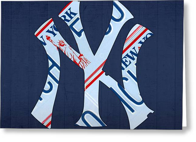 New York Yankees Mixed Media Greeting Cards - New York Yankees Baseball Team Vintage Logo Recycled NY License Plate Art Greeting Card by Design Turnpike