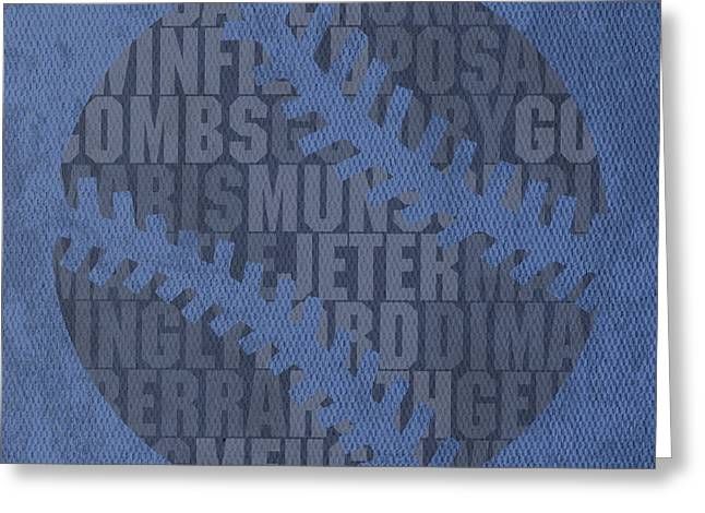 New York Yankees Mixed Media Greeting Cards - New York Yankees Baseball Typography Famous Player Names On Canvas Greeting Card by Design Turnpike