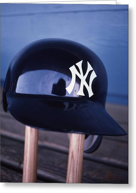 Baseball Fine Art Greeting Cards - New York Yankees Batting Helmet Greeting Card by Retro Images Archive
